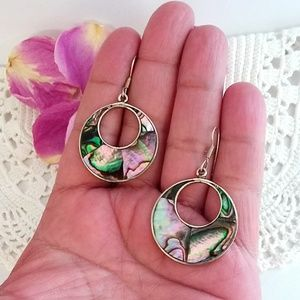 Trendy 80's Mexico Abalone Dangle Earrings